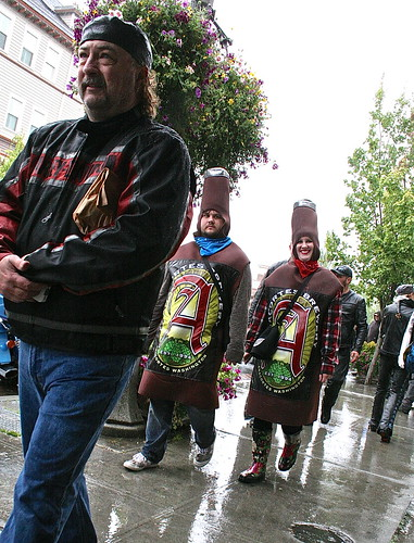 Beer bottle advertising outfits