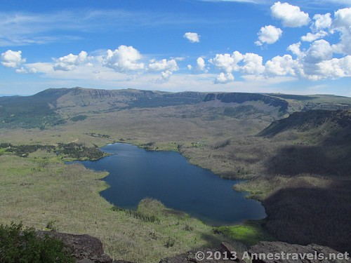 The view of Trappers Lake from Amphitheatre Peak, Flat Tops Wilderness Area, White River National Forest, Colorado