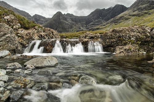 painterly scotland rocks isleofskye dramatic waterfalls flowing carbost digitalblend fairypools snshdr