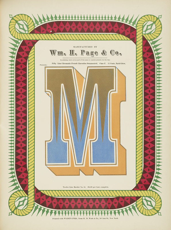 Specimens of chromatic wood type, borders 1874 - [via Columbia U] (M) French Clarendon ornamented type