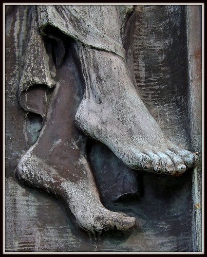 Detail: Feet, Ernest W. Haass Memorial, Woodlawn Cemetery--Detroit MI