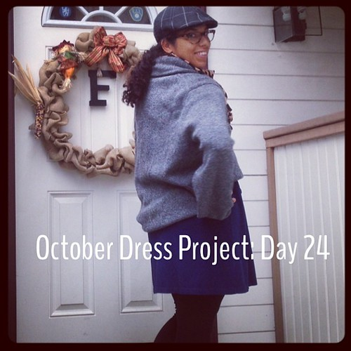 #ODP: Day 24. Running out of ideas! Huge man sweater over dress as skirt. #ABeautifulMess