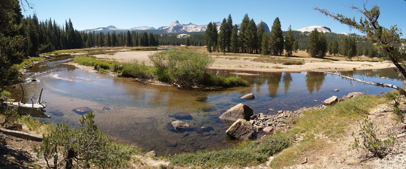 Panorama shot of a big bend in the Tuolumne River in Lower Tuolumne Meadows, from the PCT