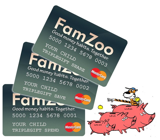 Put FamZoo Prepaid Cards into TripleGift Spend/Save/Share Pockets