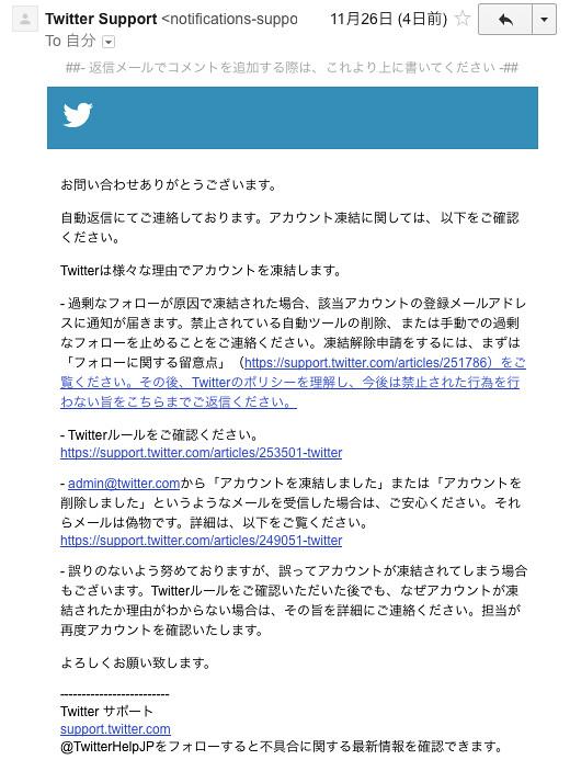 Twitterアカウント凍結メール