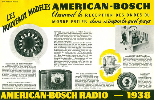 Croatia. Zagreb Year ~ 1938. American - Bosch Radio - 1938. Les Noveaux Modeles  UNITED AMERICAN BOSCH CORPORATION SPRINGFIELD U.S.A. 2050 PR Bosch Radio a