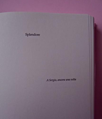 Margaret Mazzantini, Splendore. Mondadori 2013. Art Director: Giacomo Callo; Progetto Grafico: Marcello Dolcini; Graphic Designer: Susanna Tosatti; alla sovracop: ©R. McGinley. Pag. dell'esergo (part.), 1