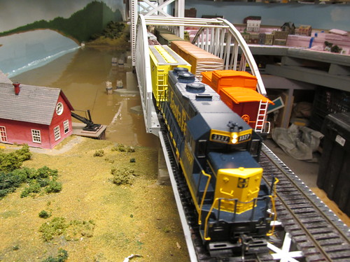 Two freight trains meet on the Missisippi River lift bridge. by Eddie from Chicago