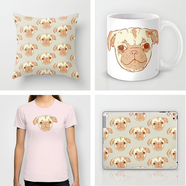 pug puppy pattern on products