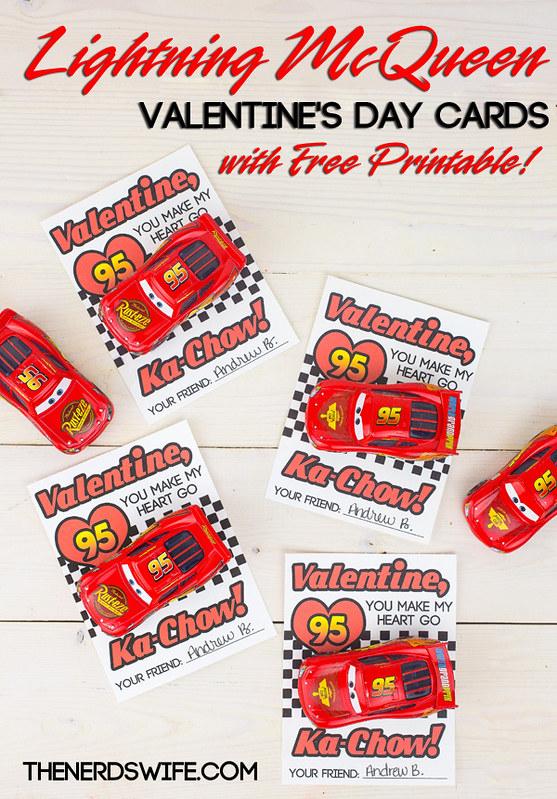 Printable Lightning McQueen Valentine Cards