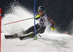 Phelan kicks up some snow during the slalom in Flachau, AUT