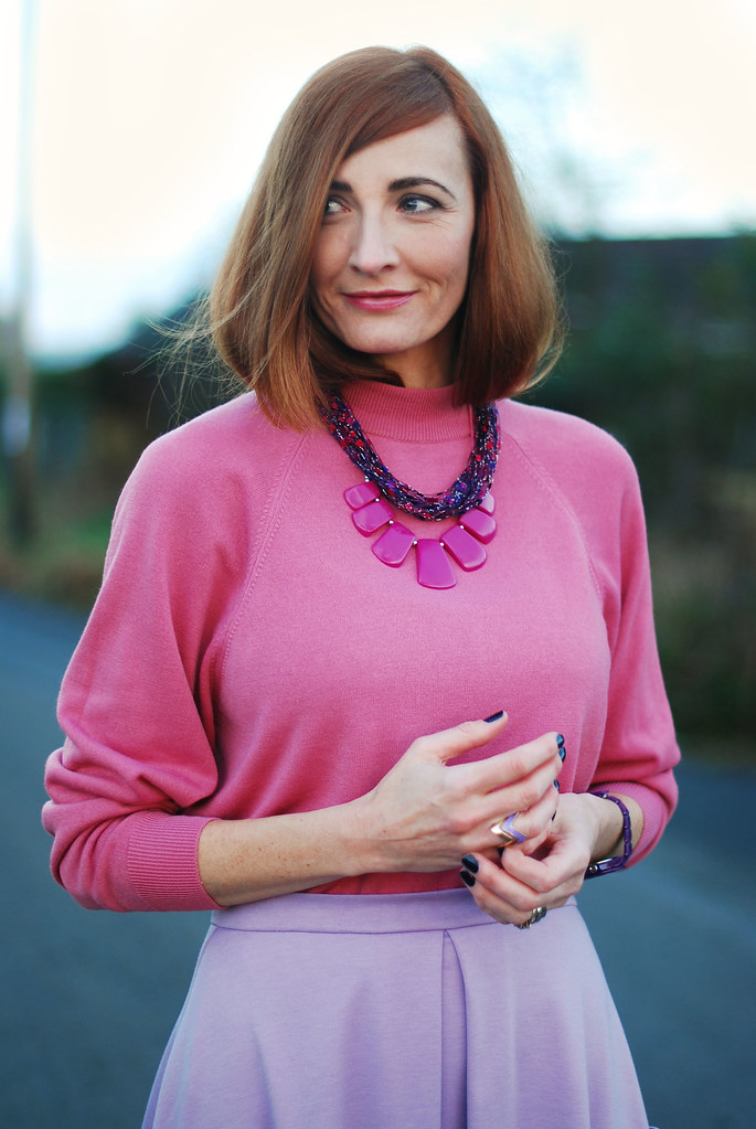 Pink sweater & Radiant Orchid-inspired statement necklace, lilac skirt