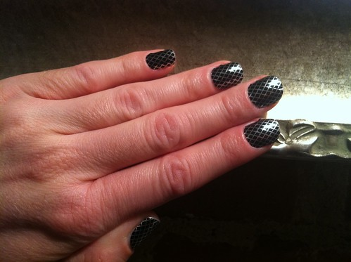 Black and silver fishnet Jamberry nails
