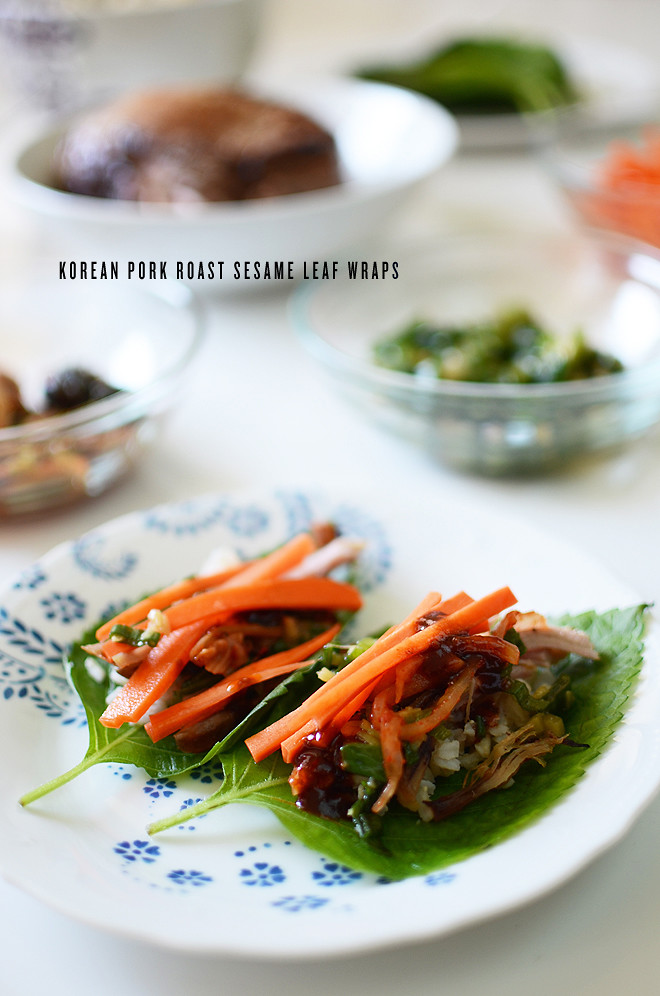 korean pork roast sesame leaf wraps