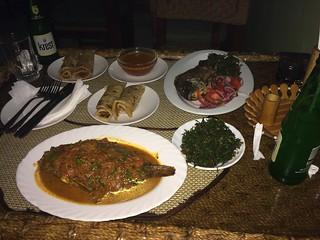 Samaki (wet fry) and Samaki masala; Chapati; Sukuma wiki; Krest soda