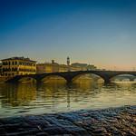 Quadretto del Ponte Santa Trinita dalla pescaia di Santa Rosa