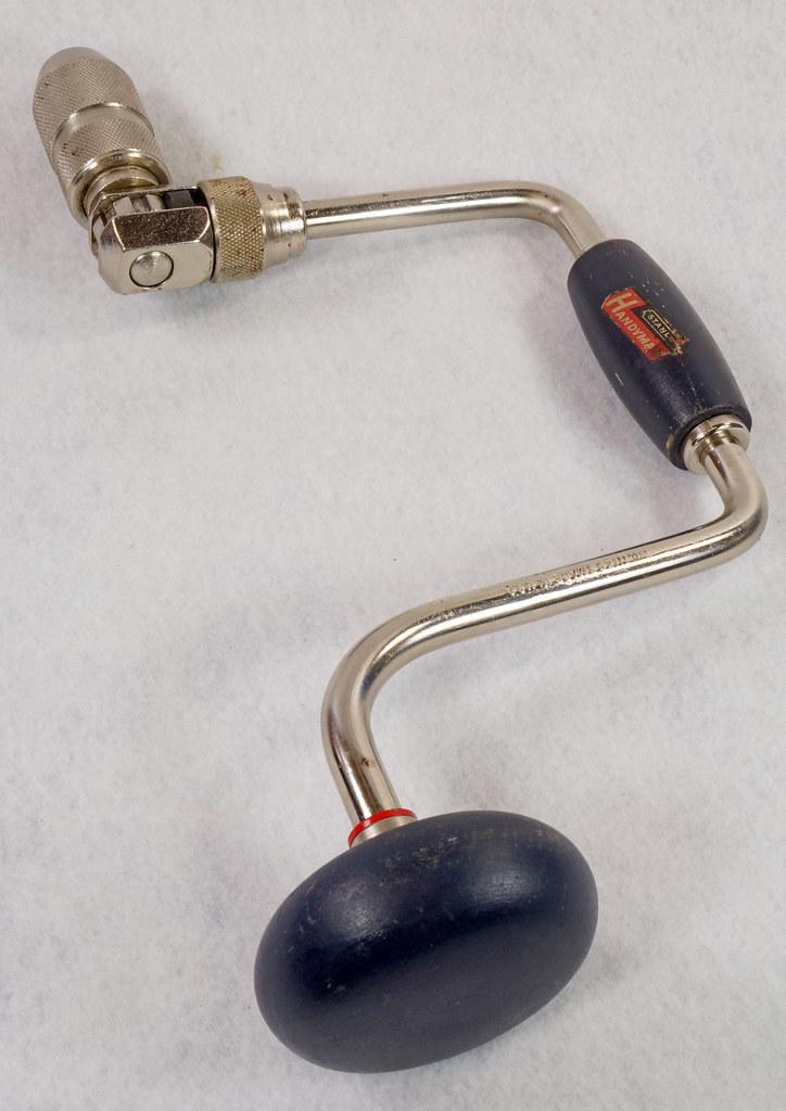 RD15321 Vintage Stanley Handyman Ratchet Brace Bit Hand Drill H1253 Dark Blue Wood Handles DSC09144