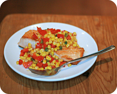 Salmon with Corn Pepper Relish