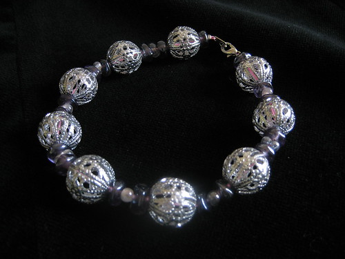 Lavender and Silver Bracelet