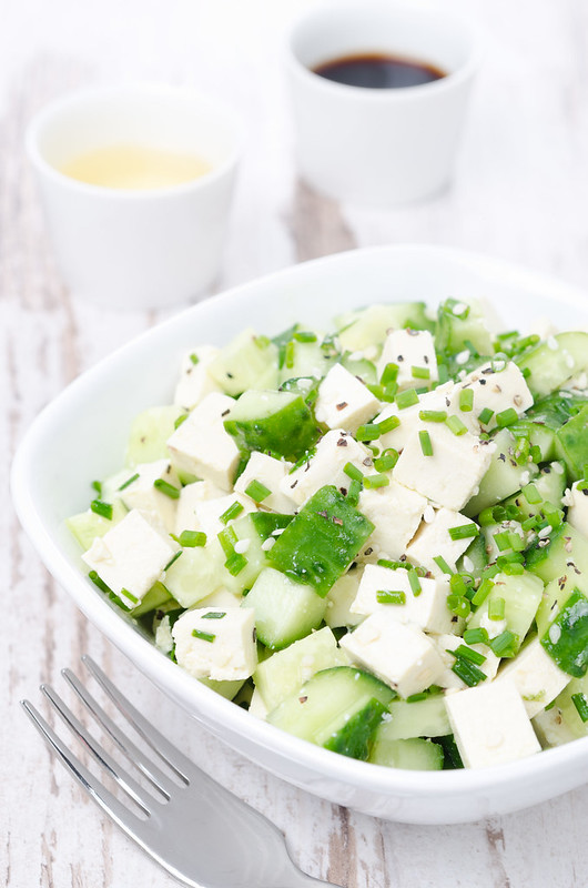 salad with tofu and cucumber