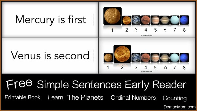 Free Early Reader Printable Book: The Major Planets (Simple Sentences)