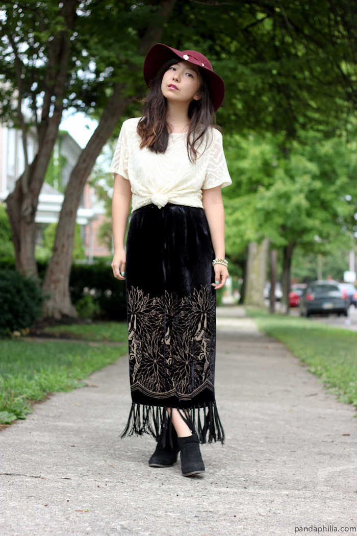 wine sunhat, white crop top, velvet fringe maxi skirt