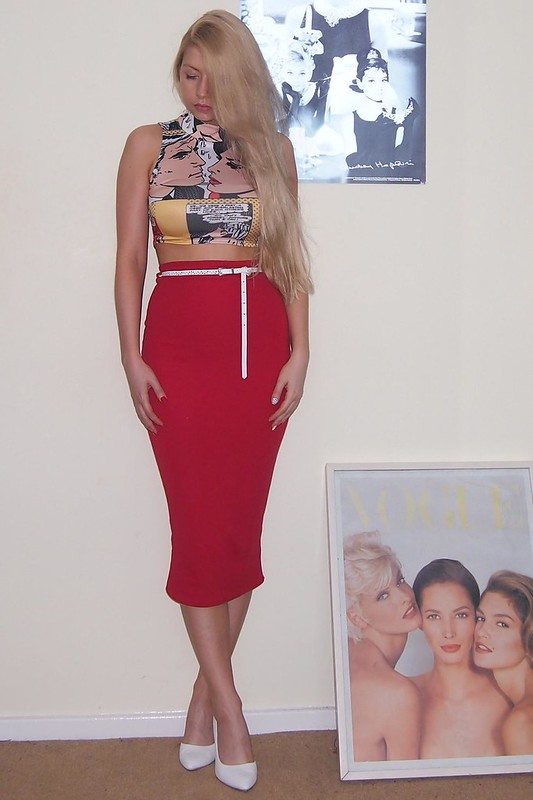 Primark, Pop Art, Crop Top, Cartoon Print, White Shoes, Boohoo, Red Pencil Skirt, Wiggle Skirt