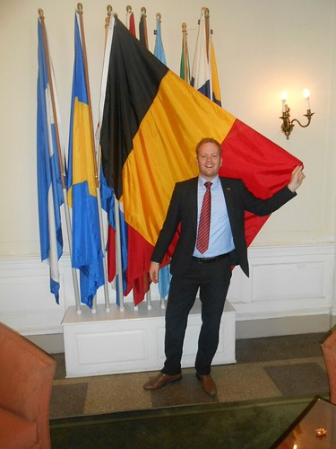 In front of Belgian Flag at IHouse