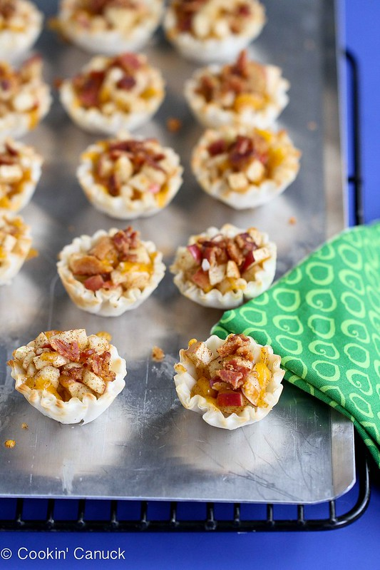 Mini Apple, Cheddar & Bacon Fillo Snack Tart Recipe | cookincanuck.com #recipe #snack #bacon