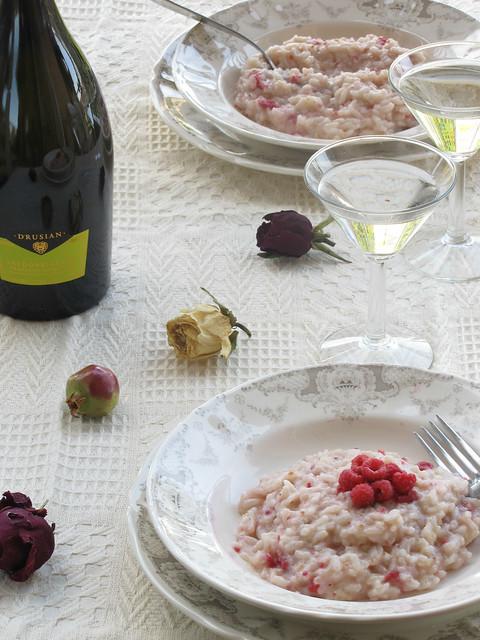 Risotto con lamponi e pepe lungo al profumo di Gewürtztraminer e Champagne