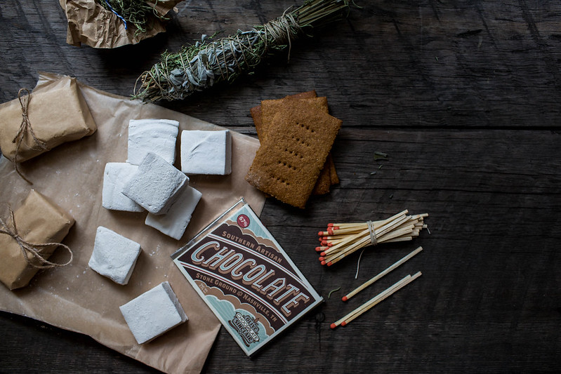 "Kinfolk ""The Art of Camp Cooking"", Nashville, homemade s'mores fixins with Olive & Sinclair Chocolate"