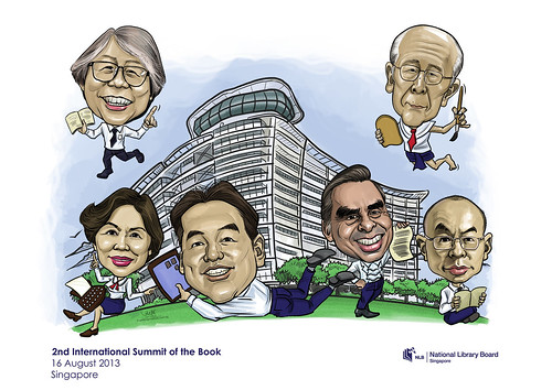 digital group caricatures for National Library (NLB) - 2