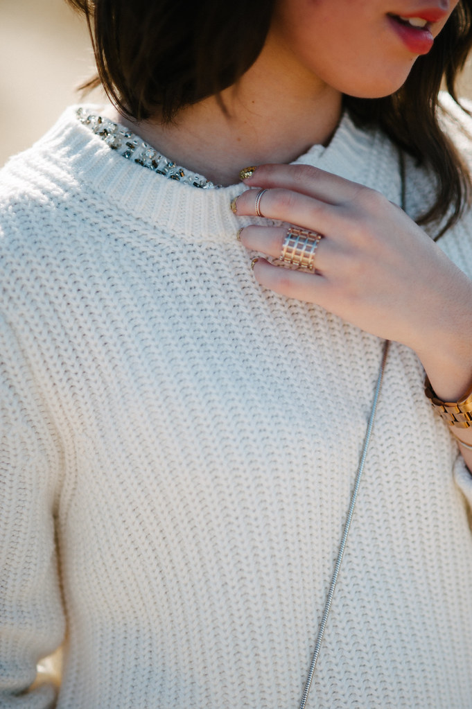 3.1 phillip lim for target, sparkle sweater, gold glitter nail polish