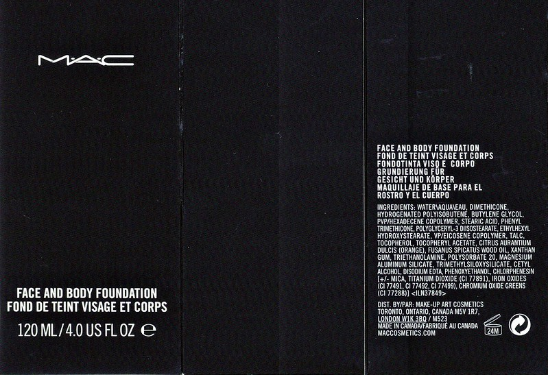 MAC Face and Body Foundation Ingredients
