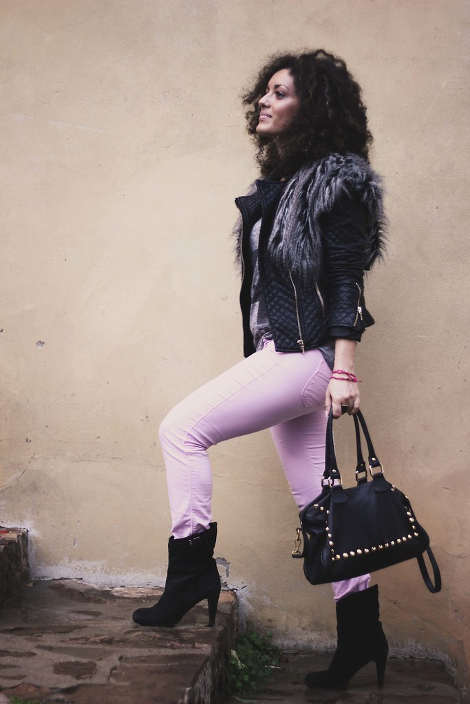 street style 2013: leather jacket and fur