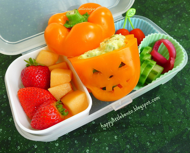 Jack-o-Pepper Egg Salad Halloween Bento
