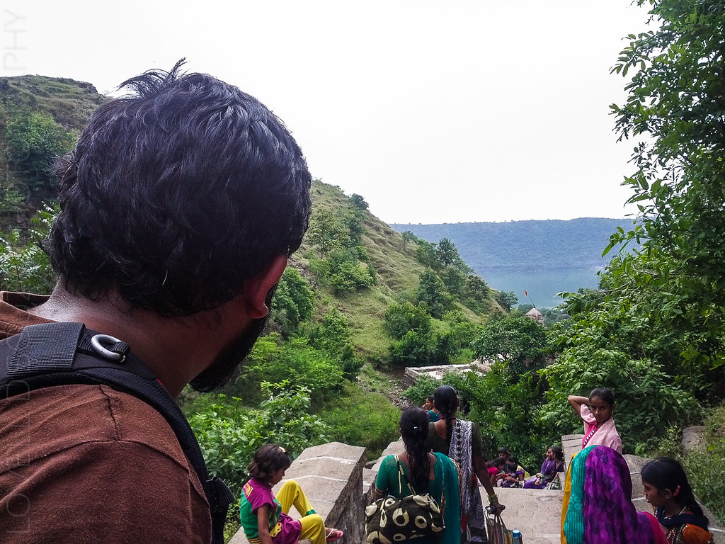 Lovell looking at the Lonar lake