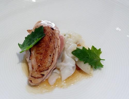 Tetsuya's: Tea Smoked Quail Breast with Parsnip & Calamari