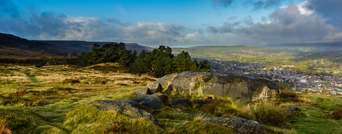 panorama tree grass rock stone clouds town heather yorkshire hill scenary fields moor lanscape ilkley