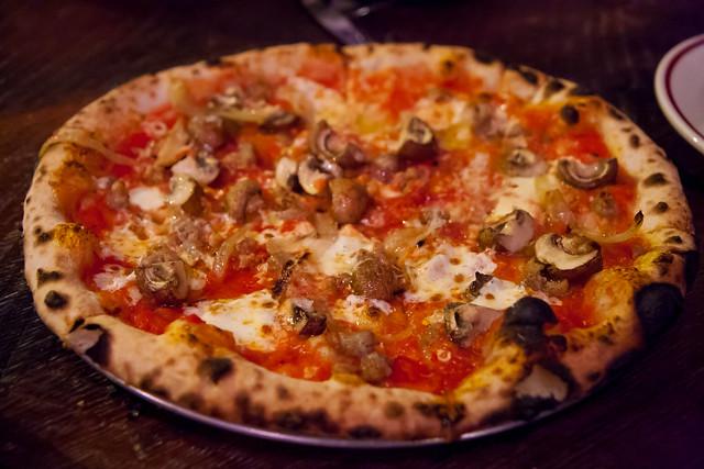 Sausage and cremini mushroom pizza, Milkflower