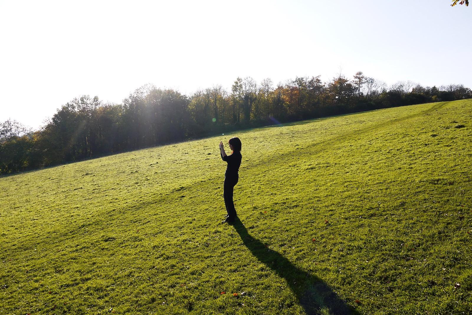Karen doing panorama Otford to Eynsford