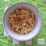 Freshly roasted pumpkin seeds