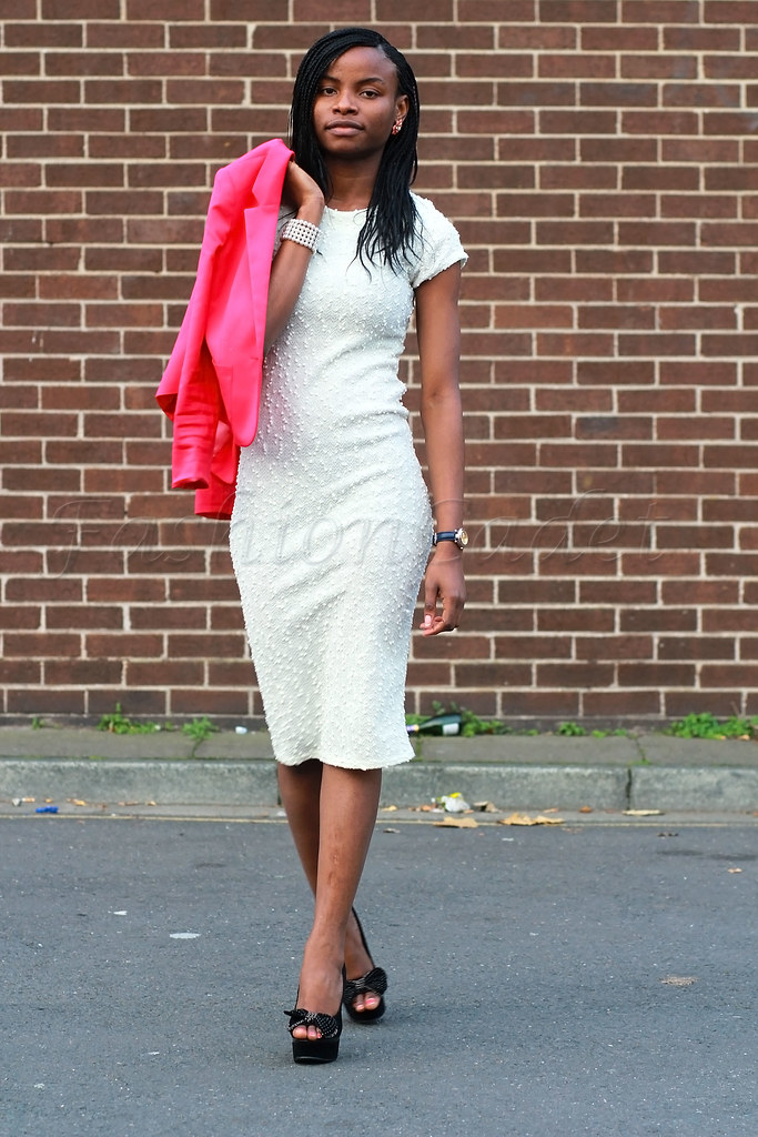 how-to-style-winter-whites, How to style whites, different ways of wearing white, white dress & blazer, white dress with a hot pink blazer, pink blazer