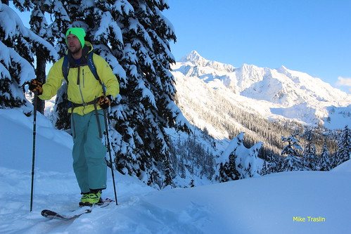 Mt Shuksan in the background. Skier Andy Traslin.   photo Mike Traslin