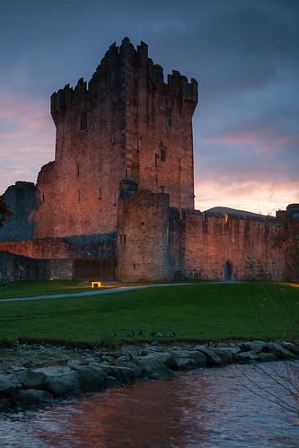 ireland winter lake castle beauty clouds ruin medieval kerry killarney bleak