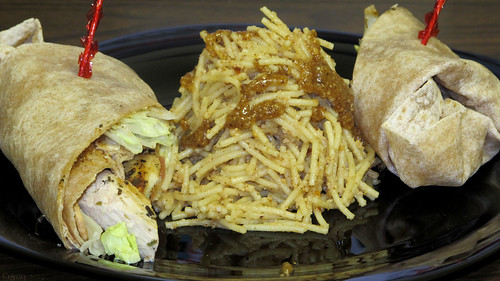 Thai peanut chicken wrap and cold sesame noodles by Coyoty