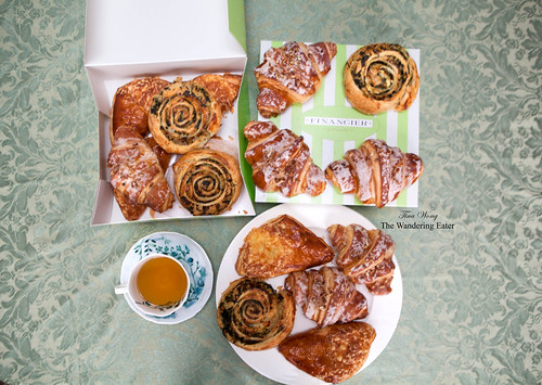 Limited edition savory croissants - Florentine wheel, Chicken, Mushroom bechamel triangle - and glazed pecan croissants