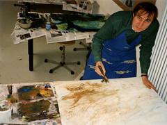 B 10.3 Pinsel-Objekte: Painting with wood-brush - Malen mit Zweigpinsel