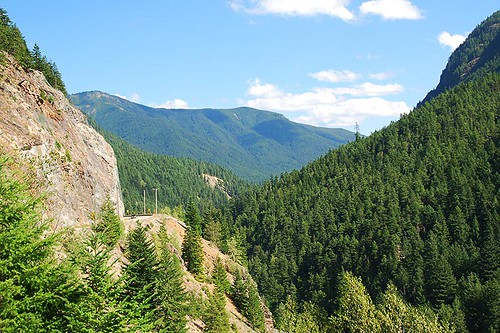 Crowsnest Highway 3 passes through Manning Provincial Park, Cascade Mountains, Hope, British Columbia, Canada