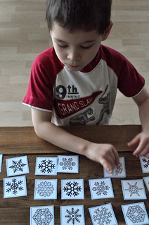 Snowflake matching cards